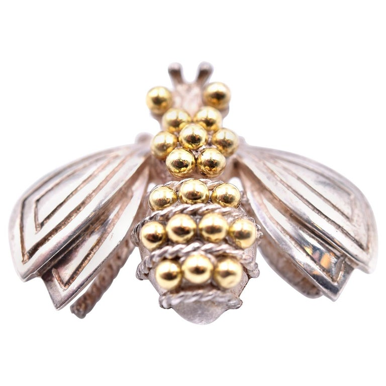 Tiffany & Co. Sterling Silver and 14 Karat Yellow Gold Bee Pin For Sale