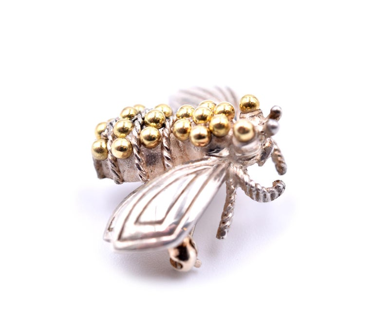 Tiffany & Co. Sterling Silver and 14 Karat Yellow Gold Bee Pin In Excellent Condition For Sale In Scottsdale, AZ