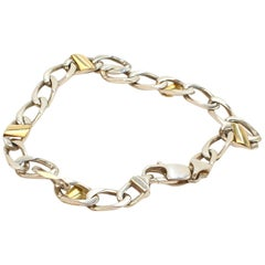 Tiffany & Co. Sterling Silver and 18 Karat Gold Curb Link Bracelet