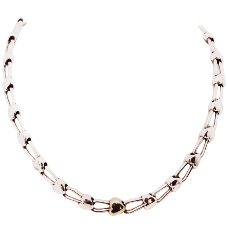 140a64588830 Tiffany   Co. Sterling Silver and 18 Karat Gold Inline Hearts Necklace For  Sale