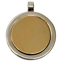 Tiffany & Co Sterling Silver and 18K Yellow Gold Disc Pendant