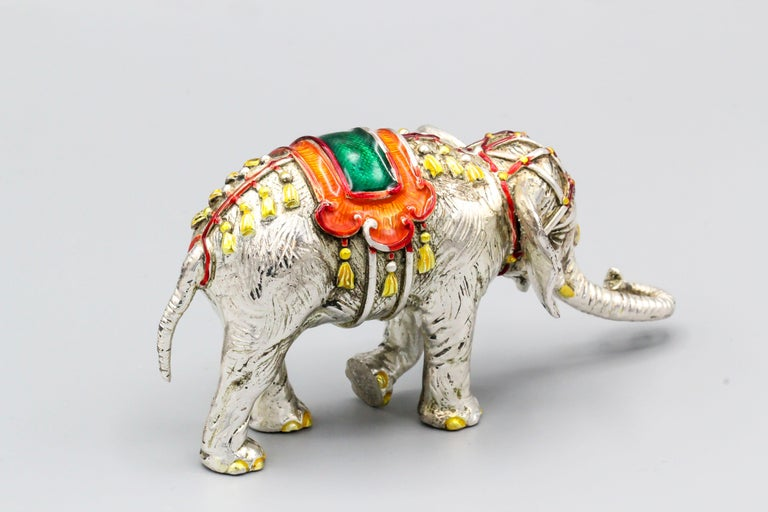 Contemporary Tiffany & Co. Sterling Silver and Enamel Circus Elephant Figurine For Sale