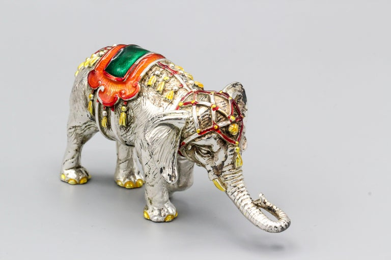 Tiffany & Co. Sterling Silver and Enamel Circus Elephant Figurine In Good Condition For Sale In New York, NY