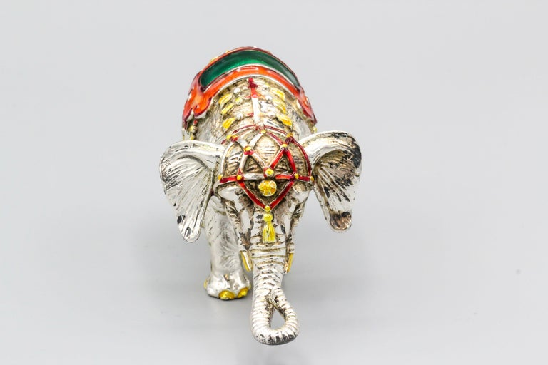 Women's or Men's Tiffany & Co. Sterling Silver and Enamel Circus Elephant Figurine For Sale