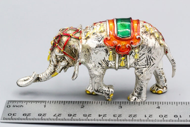Tiffany & Co. Sterling Silver and Enamel Circus Elephant Figurine For Sale 4