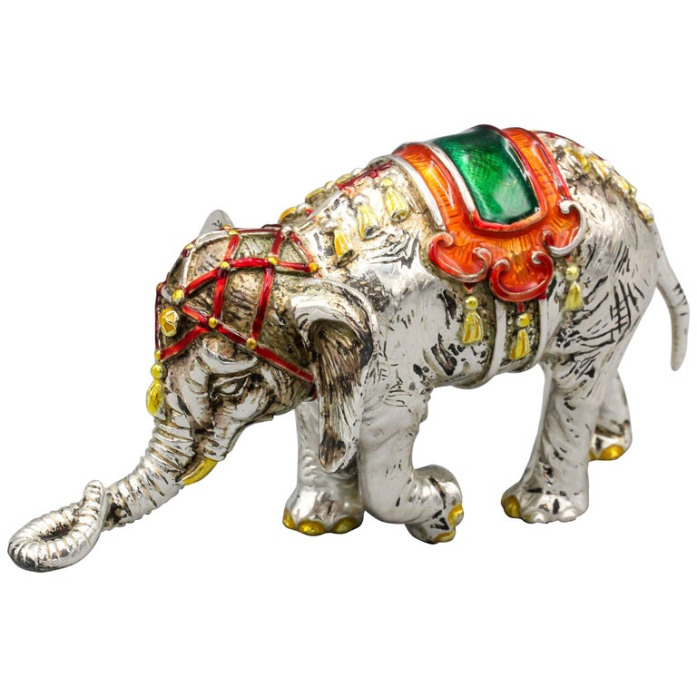 Tiffany & Co. Sterling Silver and Enamel Circus Elephant Figurine For Sale