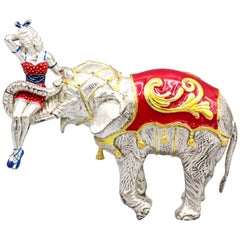 Tiffany & Co. Sterling Silver and Enamel Circus Elephant with Girl Figurine