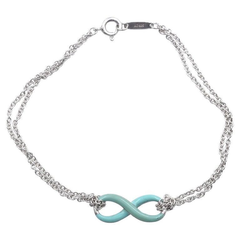 Tiffany & Co. Sterling Silver Blue Enamel Infinity Bracelet For Sale