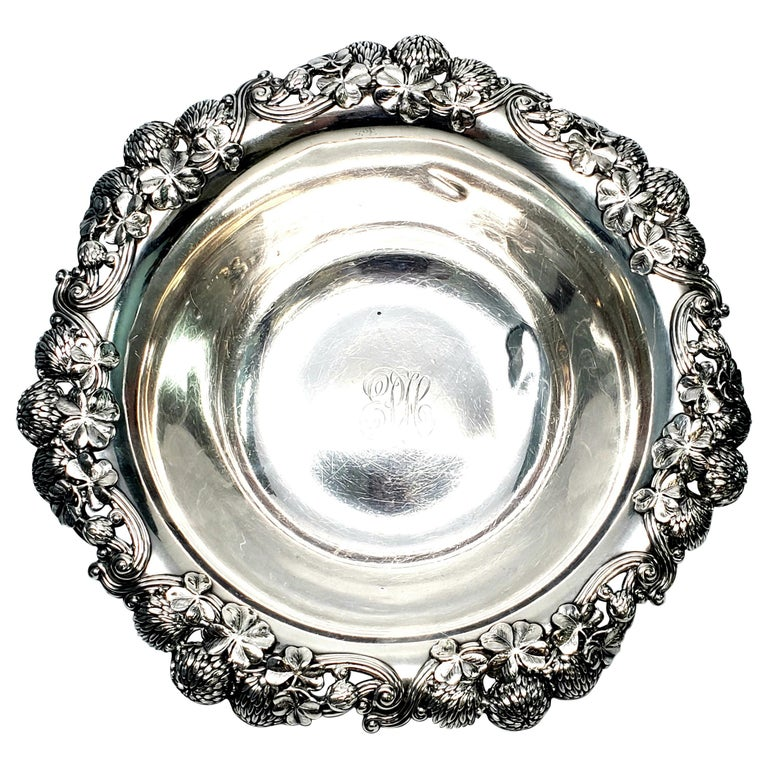 Tiffany & Co. Sterling Silver Bowl Clover Pattern with Monogram For Sale