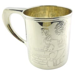 Tiffany & Co. Sterling Silver Boy/Girl Cat/Dog Baby Cup