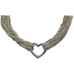 Tiffany & Co. Sterling Silver Heart Center Multi-Chain Necklace