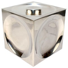 Tiffany & Co. Sterling Silver Circles and Squares Op-Art Cube Shaped Covered Box