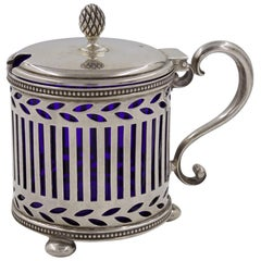 Tiffany & Co. Sterling Silver Cobalt-Blue Mustard Pot, circa 1920s
