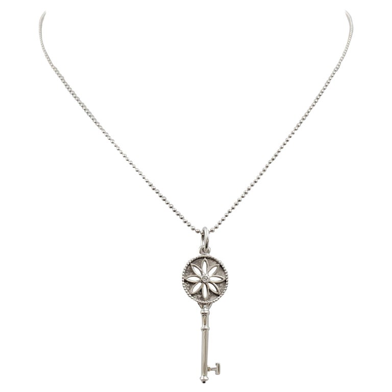 Tiffany & Co. Sterling Silver 'Daisy Key' Pendant on Beaded Chain For Sale