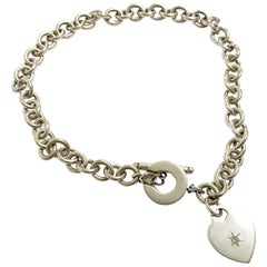 Tiffany & Co. Sterling Silver Diamond Heart Charm Necklace