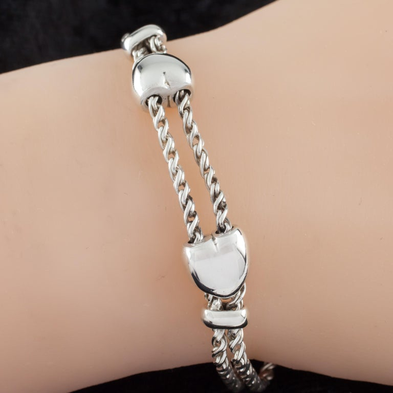3ebe31186 Sterling Silver Double Heart Slider Chain Bracelet Retired For Sale.  Gorgeous Bracelet by Tiffany & Co. Features Two Hearts that Slide on Two  Chains,
