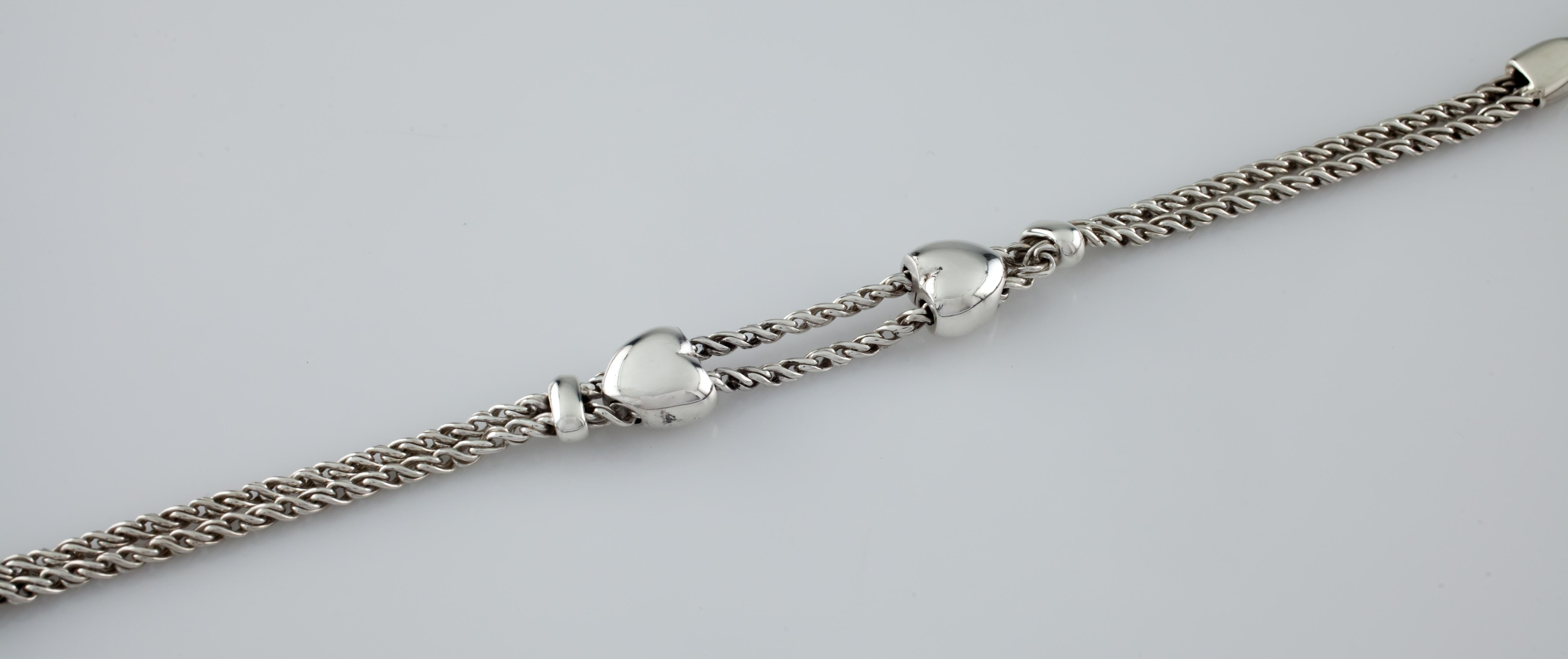 f4e24afd1 Tiffany and Co. Sterling Silver Double Heart Slider Chain Bracelet Retired  at 1stdibs