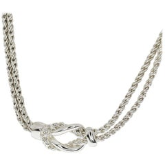 Tiffany & Co. Sterling Silver Double Rope Center Knot Necklace