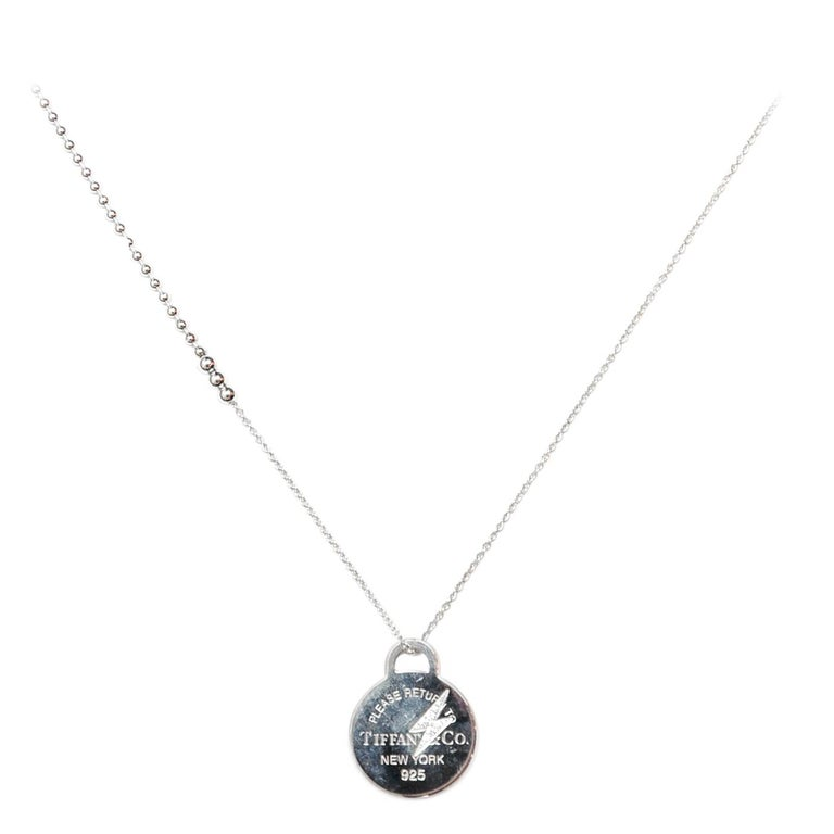 8eec012904682 Tiffany & Co Sterling Silver Etched Diamond Lightning Bolt Round Charm  Necklace