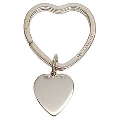 Tiffany & Co Sterling Silver Heart Key Ring with Heart Tag