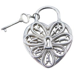 Tiffany & Co. Sterling Silver Heart Lock and Key Filigree Pendant