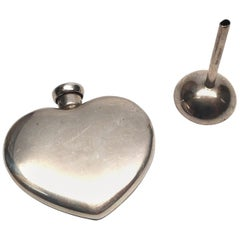 Tiffany & Co. Sterling Silver Heart Perfume Case and Funnel