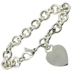Tiffany & Co. Sterling Silver Heart Tag Charm Bracelet