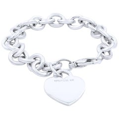 Tiffany & Co. Sterling Silver Heart Tag Toggle Charm Bracelet