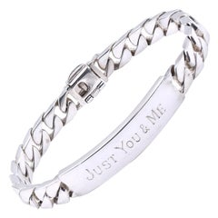 """Tiffany & Co. Sterling Silver ID Bracelet Engraved """"Just You & Me"""""""