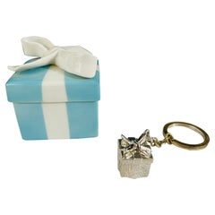 Tiffany & Co. Sterling Silver Keychain with Matching Porcelain Blue Box