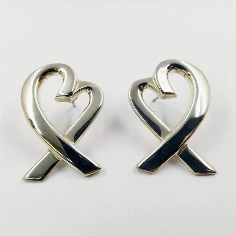 Women's Tiffany & Co. Sterling Silver Large Heart Earrings by Paloma Picasso For Sale