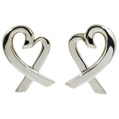 Tiffany & Co. Sterling Silver Large Heart Earrings by Paloma Picasso