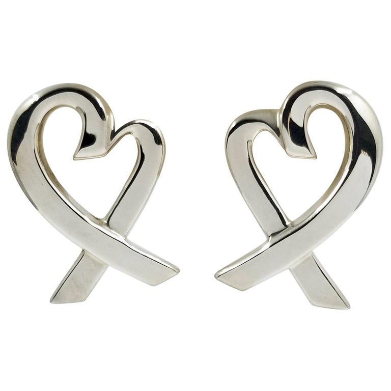 Tiffany & Co. Sterling Silver Large Heart Earrings by Paloma Picasso For Sale