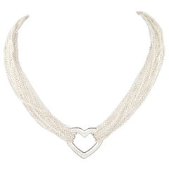 ccef8936a Tiffany & Co. Sterling Silver Open Heart Multi-Chain Necklace with Box and  Pouch