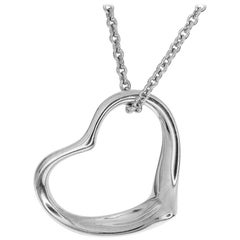 Tiffany & Co. Sterling Silver Open Heart Pendant Necklace