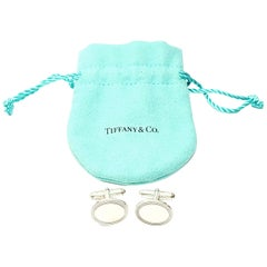 Tiffany & Co. Sterling Silver Oval Cufflinks with Pouch