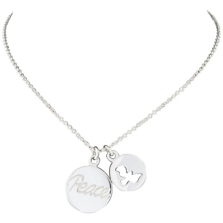 88de78b70 Tiffany & Co. Sterling Silver Paloma Picasso Peace Dove Pendant Necklace  For Sale