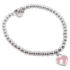 Tiffany & Co. Sterling Silver Pink Heart Return to Tiffany Tag Bead Bracelet