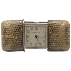 Tiffany & Co Sterling Silver, Python Purse Clock