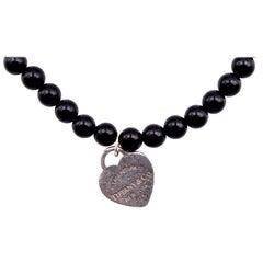 Tiffany & Co. Sterling Silver Return to Tiffany Black Onyx Beaded Bracelet
