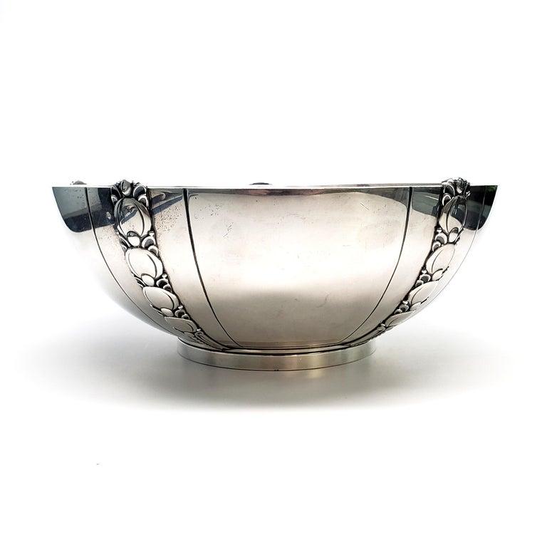 Vintage Tiffany & Co Sterling Silver Salad Bowl in the Tomato/Pumpkin Vine Pattern, 9 1/4