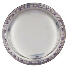 Tiffany & Co. Sterling Silver Serving Plate with Enamel #18670-6018 Art Deco