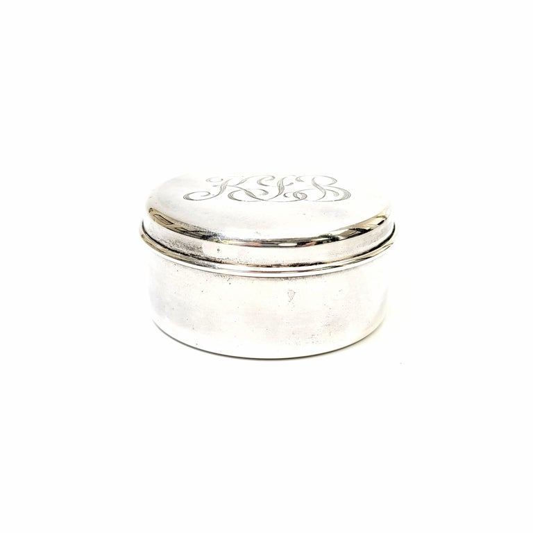 Vintage sterling silver jewelry or trinket box by Tiffany & Co.  Beautiful small round box featuring a simple and timeless design. Does not include Tiffany pouch or box.  Monogram appears to be KJB  Box measures: approximate 2 1/8