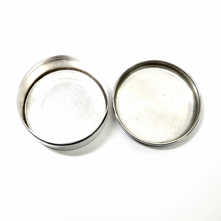 Unknown Tiffany & Co. Sterling Silver Small Round Jewelry Trinket Box For Sale