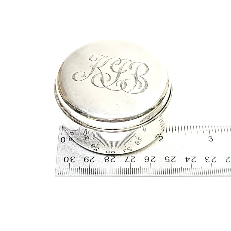 Tiffany & Co. Sterling Silver Small Round Jewelry Trinket Box For Sale 2