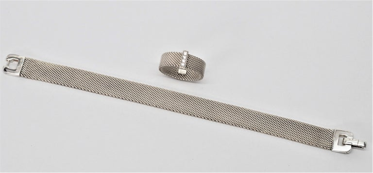 Smart and timeless this hard to find as a set Tiffany & Co. Sterling Silver Somerset Mesh Buckle Bracelet is paired with a matching sterling silver diamond Tiffany & Co. ring. The sterling silver bracelet measures seven inches in length and and 3/8