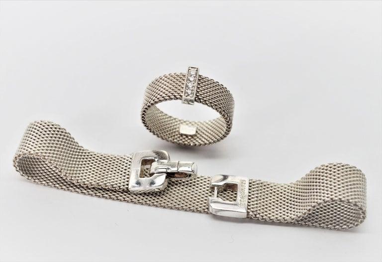 Round Cut Tiffany & Co. Sterling Silver Somerset Mesh Bracelet w Buckle & Ring w Diamonds For Sale