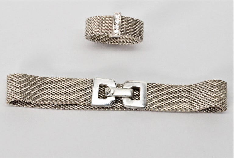 Tiffany & Co. Sterling Silver Somerset Mesh Bracelet w Buckle & Ring w Diamonds In Excellent Condition For Sale In Mount Kisco, NY