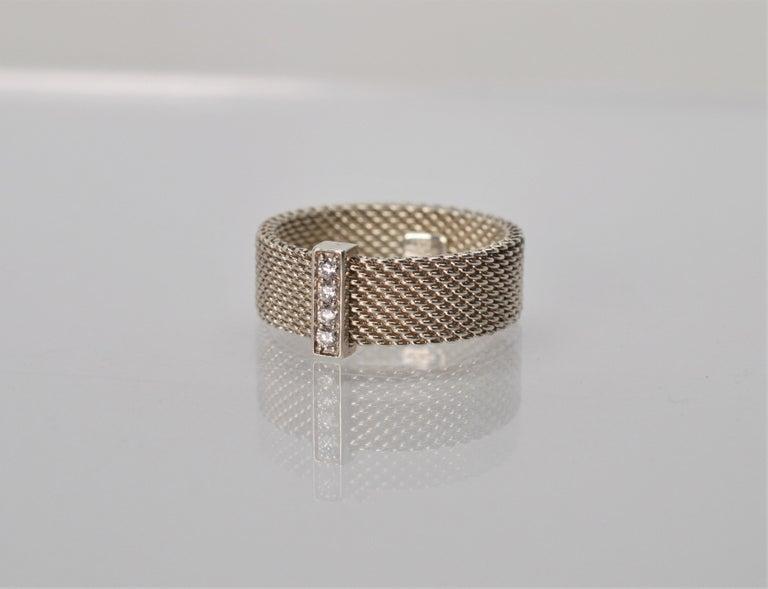Women's Tiffany & Co. Sterling Silver Somerset Mesh Bracelet w Buckle & Ring w Diamonds For Sale