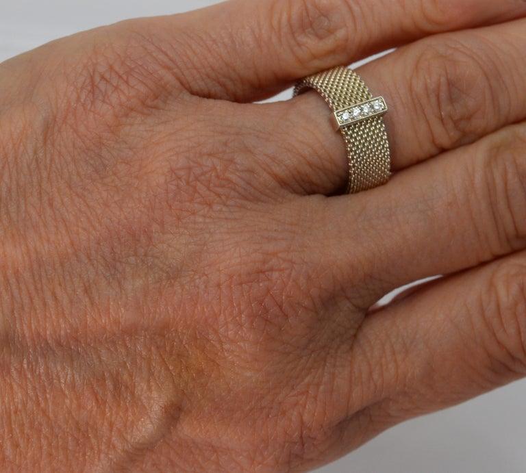 Tiffany & Co. Sterling Silver Somerset Mesh Bracelet w Buckle & Ring w Diamonds For Sale 1